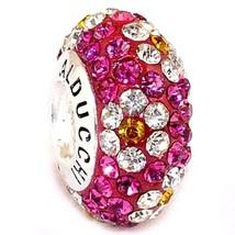 Alducchi Fuschia -Clear flower Swarovski Crystal .925 Silver European Ch... - $19.95