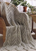 Z461 Filet Crochet PATTERN ONLY Rippling Lace Airy Afghan Throw Pattern - $7.50