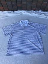 George Men's White Stripe Polo Golf Shirt Size 3XL 54-56  - $4.79
