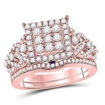 14kt Rose Gold Round Diamond Vintage-inspired Bridal Wedding Ring Set 1-1/10 Ctw - $1,549.54