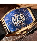Skull Automatic Mechanical Men's Watch Skeleton Leather Band and Tonneau... - $37.99+