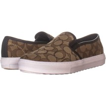 Coach C115 Perforated Slip On Sneakers 179, Khaki/Chestnut, 6 US - $50.87