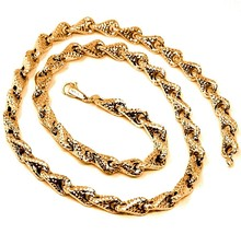 18K ROSE GOLD NECKLACE CHAIN BIG ROUNDED DIAMOND CUT INFINITY ALTERNATE DROP 7mm image 1
