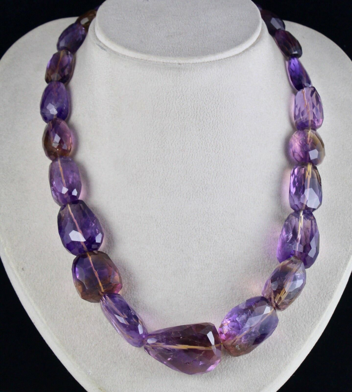 Primary image for NATURAL AMETRINE BEADS FACETED TUMBLE 1088 CTS GEMSTONE LADIES SILVER NECKLACE