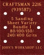 CRAFTSMAN 2216 - 80/100/150/240/400 Grits - 5 Sandpaper Variety Bundle I - $7.53