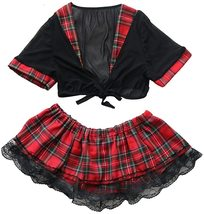 Lucky2Buy Womens Sexy Schoolgirl Lace Lingerie Cosplay Mini Plaid Skirts Outfit  image 4