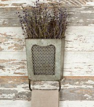 Country Farmhouse DALTON WALL BOX with TOWEL BAR HOLDER Primitive Vintag... - $38.99