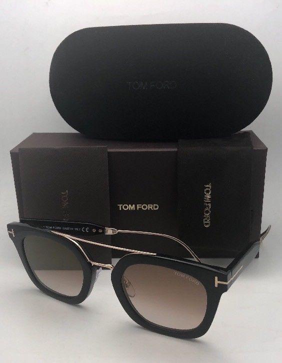 New TOM FORD Sunglasses ALEX-02 TF 541 01F 51-25 145 Black & Gold w/Brown+Mirror image 5
