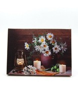 Daisies in Vase and Candles LED Light Up Lighted Canvas Wall or Tabletop... - $20.89
