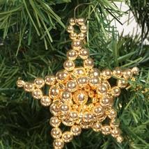 Beaded Star Christmas Ornament Gold tone beads Christmas decoration  - $15.64