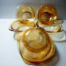 VTG set of 5 Jeannette Floragold Louisa iridescent glass Small Berry Bowls - $29.45