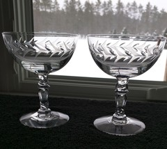 "2 Vintage Fostoria HOLLY Low Sherbet/Champagnes 4-3/8"" Set Of Two - $9.95"