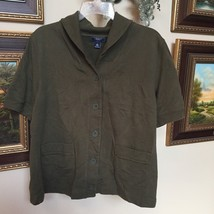 CHAPS Women's Button Down Wide Collar 2 Lower Front Pockets Top Shirt Army Green - $15.68