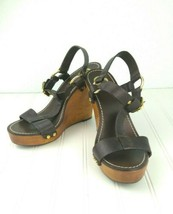 Tory Burch Wedge Sandals Genuine Leather Gold Logo Brown Wood Women's Size 10M - $125.00