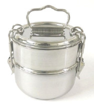 STAINLESS STEEL 2 TIER LUNCH BOXES TIFFIN CLIP STYLE OFFICE SCHOOL FOOD ... - $21.85