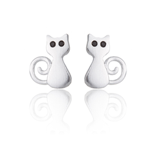 5 pairs of Cat Silver Plated Stud Earring Stud (NED209C) - $12.50
