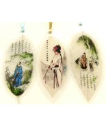 3 pcs Real Leaves Bookmarks Folk Art Traditional Chinese Painting Ancien... - $9.99