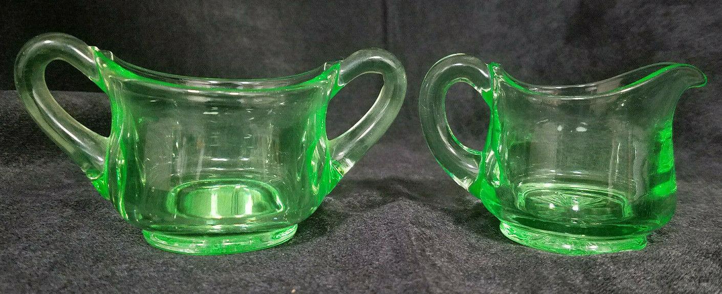 Vintage Vaseline Depression Glass Small Creamer and Sugar Set, Maker Unknown