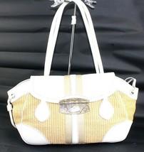 Authentic PRADA Brown PVC Mesh White Leather Flap Shoulder Bag Italy LN0... - $167.31