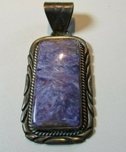 Native American Purple Charoite & Sterling Silver Pendant By Zuni Eriacho - £147.42 GBP