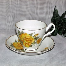 VINTAGE TEACUP FINE BONE CHINA CONSORT ENGLAND FOOTED CUP & SAUCER YELLO... - $12.97