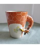 Giraffe Mug white and orange with Giraffe head wrap around handle eating... - $15.83