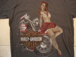 Harley-Davidson Motorcycles Pin Up Girl Dallas Texas T Shirt L - $18.80