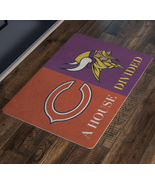 House Divided Man Cave NFL Football Welcome Mat Bears Vikings Doormat - $29.70