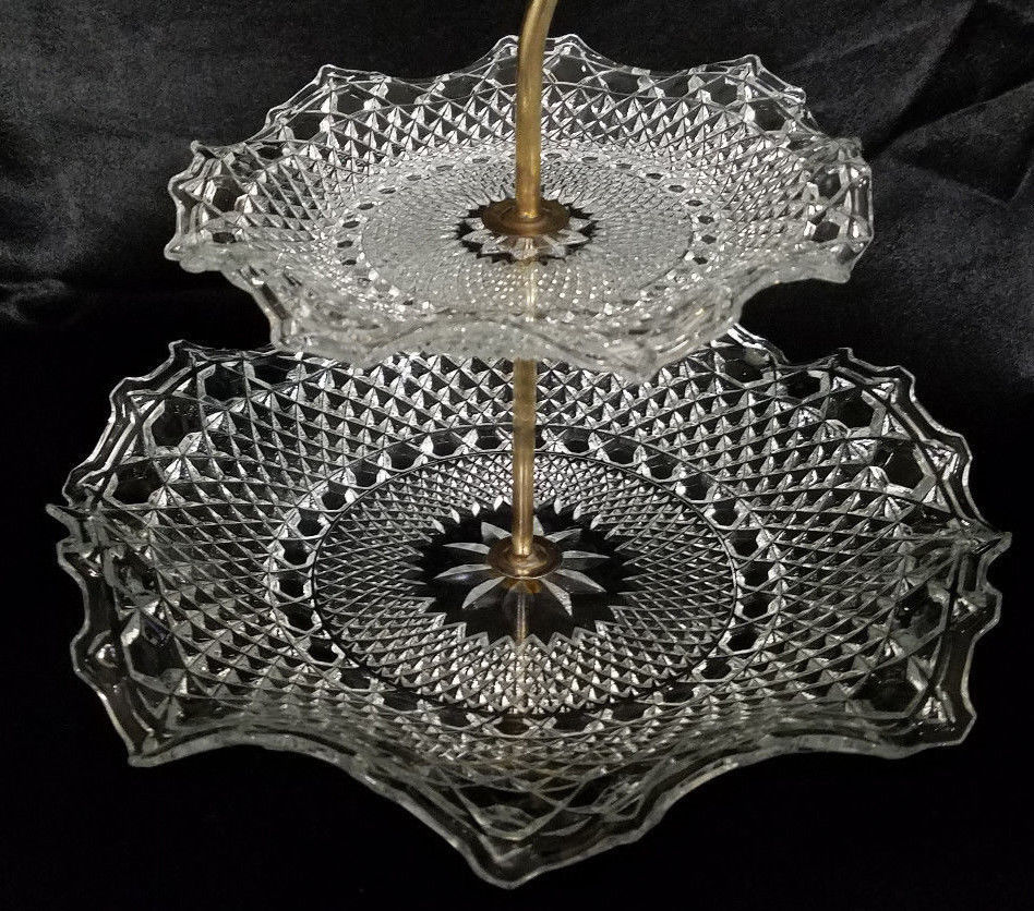 RARE! Vintage Indiana Glass Clear 2-Tier Tidbit Tray (1930-40s)
