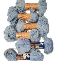 Vintage Caron Light Blue 0029 Yarn Lot of 6 Skeins 3 Ply Heavy Rug Craft  - $34.99