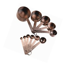 Lucky Plus 11Pcs Copper Plated Stainless Steel Measuring Cups And Spoons... - $47.99