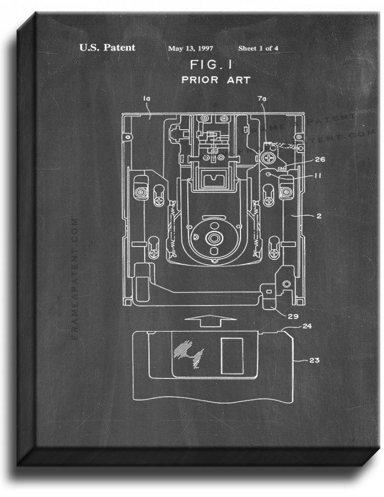 Primary image for Floppy Disk Patent Print Chalkboard on Canvas
