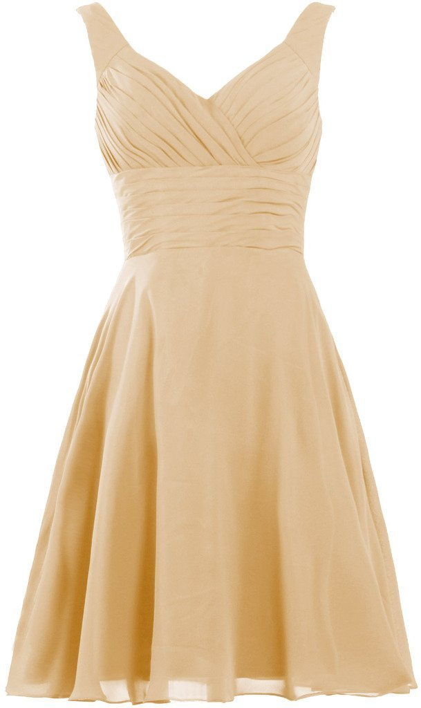 Women Short Chiffon Bridesmaid Dress With Flower V Neck Prom Cocktail Party Gown
