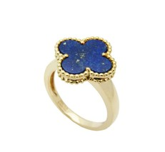 18k Yellow Gold Magic Lapis Lazuli Valentine's Day Ring 925 Sterling Silver - $94.99