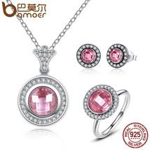 BAMOER Original Genuine 100% 925 Sterling Silver Jewelry Set Brilliant L... - $64.69