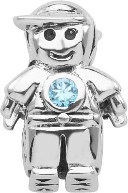 Persona December Birthstone Colored Crystal Boy Charm fits Pandora, Troll & Cham
