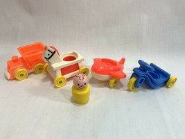 Vtg Fisher Price Little People Riders 656 Set Airplane Train Tricycle Ho... - $12.86