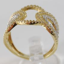 18K YELLOW & WHITE GOLD BAND RING, ALTERNATE OVAL WITH ZIRCONIA, MADE IN ITALY image 3