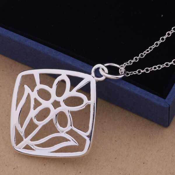 Primary image for Square Flower Pendant Necklace 925 Sterling Silver NEW