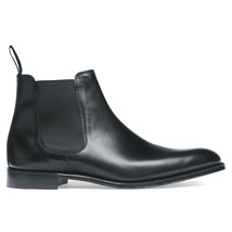 Handmade Men's Black Leather High Ankle Chelsea Boots image 5
