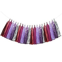 FTW Merch Light Pink Dark Pink Purple Silver Tissue Paper Tassel Garland... - $9.26