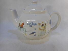 Marjolein Bastin Porcelain Hallmark Teapot W/Lid Blue Birds Rooster Butt... - $24.70