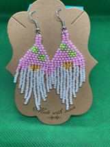 Adorable Gnome Dangle Earrings, Hand Crafted, Hand Threaded, Gift for Her  - $22.80
