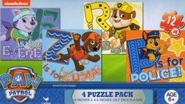 Paw Patrol - Pack of 4 jigsaw Puzzles Ages 6+ Stocking Stuffer Dogs Zuma Police - $8.90