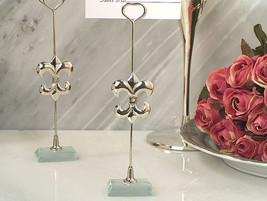 200 Silver Fleur De Lis Photo Place Card Holder Bridal Wedding Favor - €150,94 EUR