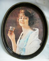vintage COCA COLA COKE TIN TRAY litho GIRL DRINKING FROM GLASS 12.25x15 - $64.95