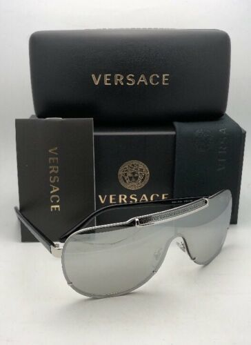New VERSACE Sunglasses VE 2140 1000/6G Silver & Black Shield with silver Mirror