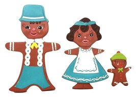 SET of 3 Vintage Fairy Tale Whimsical Gingerbread Family CERAMIC WALL Decor - $49.99