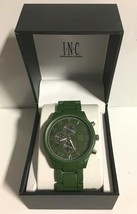 I.N.C. Men's Matte Olive Green Silver Faux Sub Dials Link bracelet watch 42mm image 2