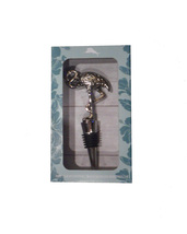 Tommy Bahama Wine Bottle Stopper, Silver Tone Metal, Flamingo, New in Box - $12.50